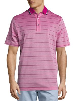 Image of EXCLUSIVELY OURS. Skinny striped polo offers an eye-catching appeal. Polo collar. Front button placket. Short sleeves. Cotton. Machine wash. Italy.