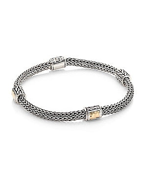 John Hardy Clic Chain Extra Small Two Tone Hammered Four Station Bracelet