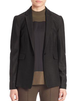 Monty Oversized Single-Button Blazer, Black