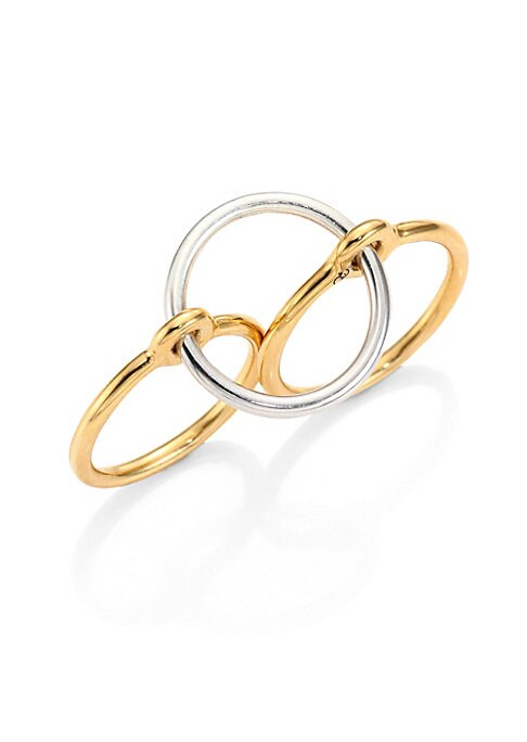 Image of Goldplated double-finger ring topped with silver band.18k yellow goldplated vermeil and sterling silver. Made in France.