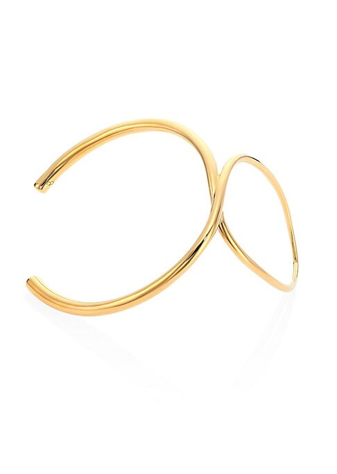 Image of Architectural, minimalist design with thumb ring.18k yellow goldplated vermeil. Slip-on style. Made in France.