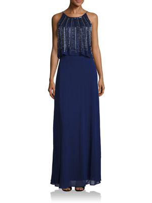 Two-Tiered Embellished Popover Bridesmaid Gown by Aidan Mattox