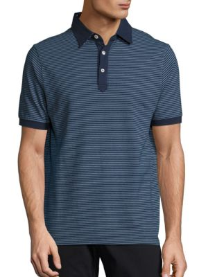 Image of EXCLUSIVELY OURS. Stylish striped polo for a handsome style. Polo collar. Front three button placket. Short sleeves with ribbed armbands. Cotton. Machine wash. Made in Italy.