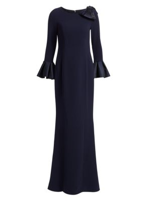 RICKIE FREEMAN FOR TERI JON Trumpet-Sleeve Crepe Column Evening Gown W/ Bow in Navy
