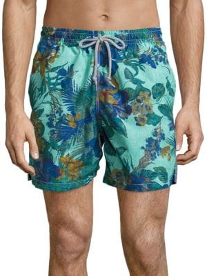 """Image of EXCLUSIVELY OURS. Update your beach style statement with these swim shorts. Elasticized drawstring waistband. Two front slash pockets. One back flap pocket. Side slit detailing. Relaxed fit. Rise, about 4"""".Inseam, about 13"""".Leg opening, about 12"""".Nylon/po"""