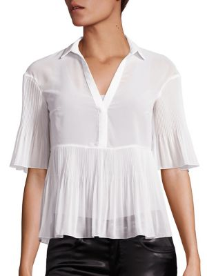 Georgette Plisse Short-Sleeve Blouse by GIAMBA