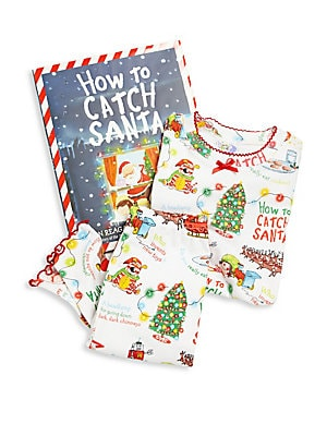 Image of Don't you have a zillion questions to ask Santa? So you need a plan to catch him. Remember: be crafty! Be clever! Be gentle! Your little one will look adorable and feel comfy in this pajamas set with allover Santa graphics. Includes jolly book. Ribbed tri