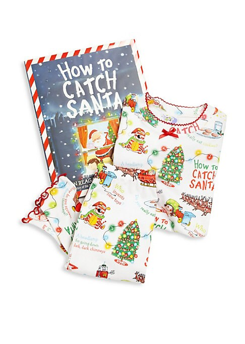Image of Don't you have a zillion questions to ask Santa? So you need a plan to catch him. Remember: be crafty! Be clever! Be gentle. Your little one will look adorable and feel comfy in this pajamas set with allover Santa graphics. Includes jolly book. Ribbed tri