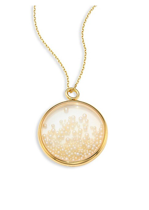 "Image of Transparent glass medallion filled with fine pearls. Round white pearls.18k yellow gold. Diameter, 1.5"".Made in France. Please note: Chain sold separately."