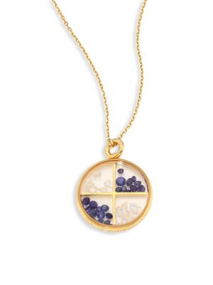 Aurelie Bidermann Diamond, Blue Sapphire & 18k Yellow Gold Medallion In Na