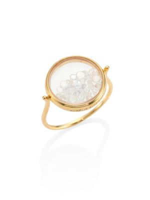 AURELIE BIDERMANN Diamond & 18K Yellow Gold Chivor Ring in Metallic