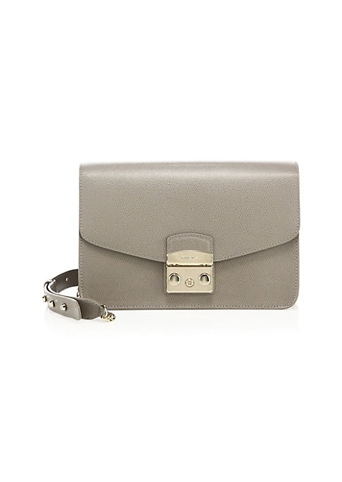 """Image of Textured leather envelope style with signature hardware. Removable, adjustable chain-and-leather shoulder strap, 21"""" drop. Push-lock flap closure. Goldtone hardware. One outside snap pocket. One inside zip pocket. One inside open pocket. Fully lined.9.75"""""""