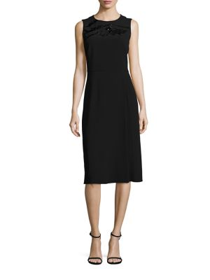 "Image of Crepe A-line dress with tonal beading at yoke. Crewneck. Sleeveless. Seamed waist. Concealed back zip. Lined. About 43"" from shoulder to hem. Acetate/viscose. Dry clean. Imported. Model shown is 5'10"" (177cm) wearing US size 4."