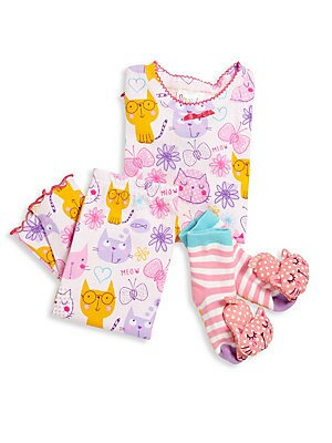 Image of From the Snuggle Moon collection. This adorable set includes an allover printed top and matching pants with a pair of coordinating socks. Cotton. Machine wash. Made in USA. TOP Scalloped crewneck Long sleeves Ribbed cuffs Scalloped hem Pullover style PANT