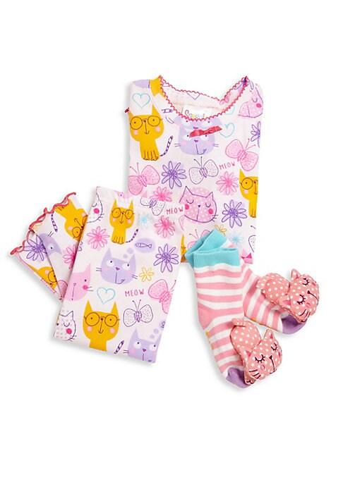 Little Girls  Girls ThreePiece Snuggle Moon Cats Pajama and Socks Set