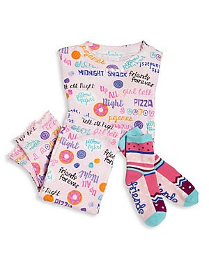 Image of From the Snuggle Moon collection. This adorable set includes an allover printed top and matching pants with a pair of coordinating socks. Cotton. Machine wash. Made in USA. TOP Crewneck Long sleeves Pullover style PANTS Elasticized waist Pull-on style SOC