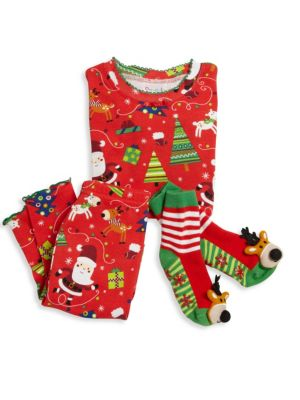 Toddlers  Little Girls ThreePiece Snuggle Moon Christmas Pajamas  Socks Set