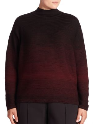 Fine Gauge Wool Ombre Turtleneck Sweater by Lafayette 148 New York, Plus Size
