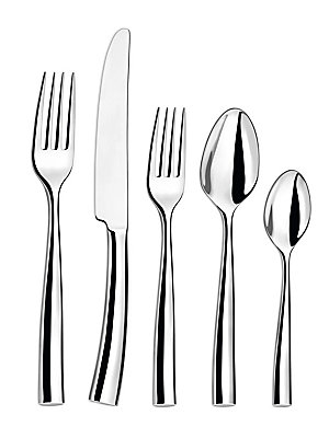 Image of Perfect for everyday utility, this set of stainless steel will fit into your dining needs quite beautifully. Set includes: Table fork, table knife, ,medium teaspoon, dessert spoon and dessert fork Stainless steel Hand wash Made in France. Gifts - Tabletop