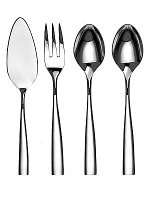 Image of This set of stainless steel tableware includes spoon, fork and cake server all of which will find utility in daily living. Set includes: Cake lifter, serving fork and two serving spoons Stainless steel Dishwasher safe Made in France. Gifts - Tabletop. Cou