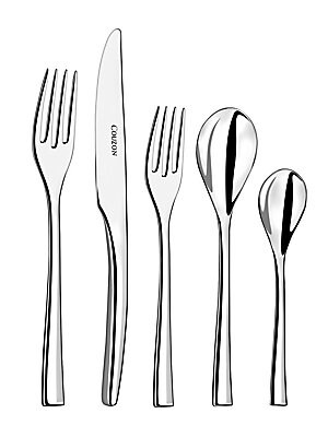 Image of This set of stainless steel ware includes every day essentials and will prove to be extremely useful for every household. Set includes: Table fork, table knife, medium teaspoon, dessert spoon and dessert fork Stainless steel Hand wash Made in France. Gift