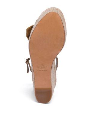 VALENTINO Suedes Tropical Bow Suede Espadrille Wedge Platform Sandals