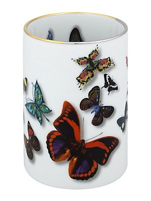 "Image of A parade of real and imaginary butterflies flying over the pieces, with notable three-dimensional effects. 3""W x 4""H x 3""D Porcelain Imported. Gifts - Serveware. Christian Lacroix by Vista Alegre."