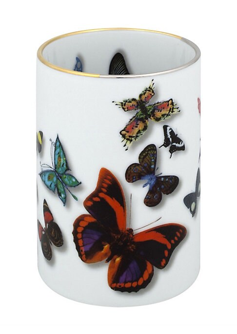 """Image of A parade of real and imaginary butterflies flying over the pieces, with notable three-dimensional effects.3""""W x 4""""H x 3""""D.Porcelain. Imported."""