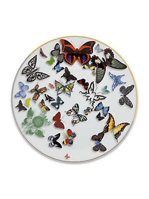 "Image of A parade of real and imaginary butterflies flying over the pieces, with notable three-dimensional effects From the Butterfly Parade Collection Set of 4 Diameter, 9"" Porcelain Dishwasher safe Imported. Gifts - Serveware > Saks Fifth Avenue. Christian Lacro"