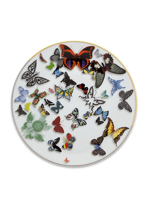 """Image of A parade of real and imaginary butterflies flying over the pieces, with notable three-dimensional effects. From the Butterfly Parade Collection. Set of 4.Diameter, 9"""".Porcelain. Dishwasher safe. Imported."""