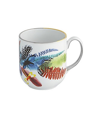 "Image of Beautifully decorated with tropical imagery, this delicate mug adds a graceful appeal to any dining setting. Height, 4"" Porcelain Imported. Gifts - Serveware. Christian Lacroix by Vista Alegre."