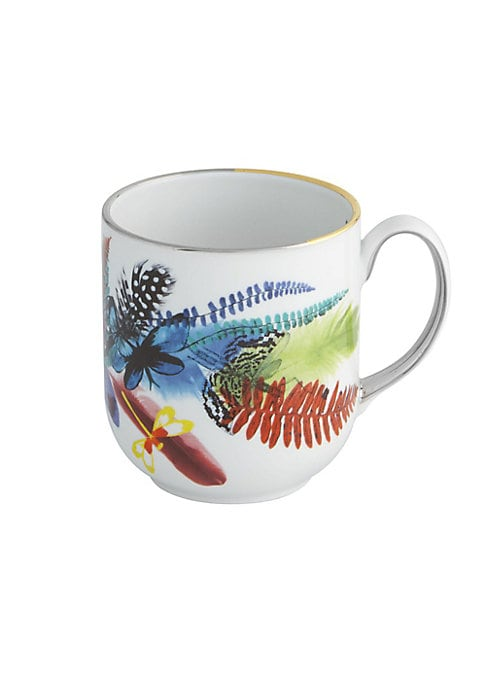 """Image of Beautifully decorated with tropical imagery, this delicate mug adds a graceful appeal to any dining setting. Height, 4"""".Porcelain. Imported."""