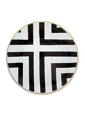 "Image of A captivating plate set, featuring striped patterns with graphic-inspired charm. Set of four Diameter, 11"" Porcelain Imported. Gifts - Serveware. Christian Lacroix by Vista Alegre."