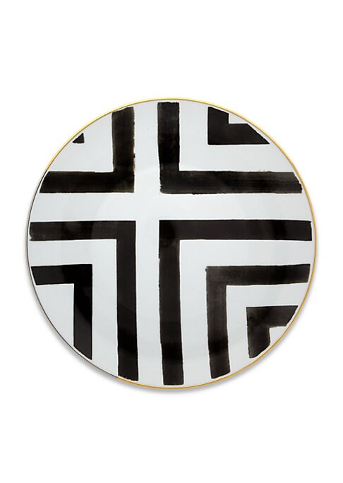 """Image of A captivating plate set, featuring striped patterns with graphic-inspired charm. Set of four. Diameter, 11"""".Porcelain. Imported."""