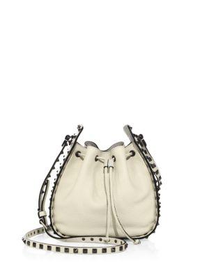 Valentino Leathers Rockstud Leather Bucket Bag