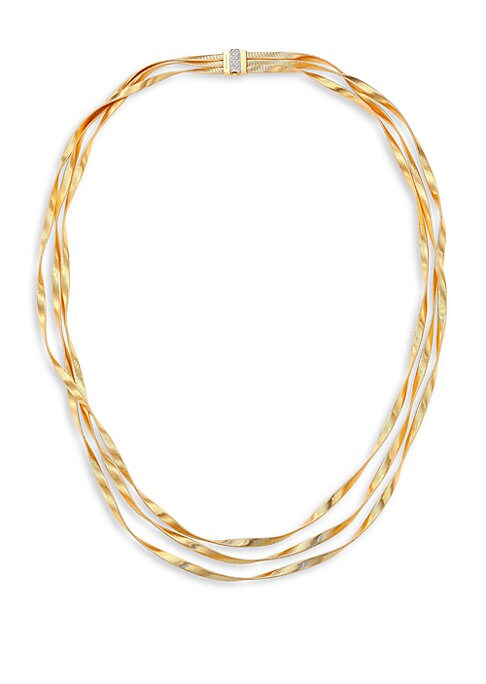 """Image of From the Marrakech Collection. Twisted three-strand design with diamond-pave clasp. Diamonds, 0.21 tcw.18k yellow and white gold. Length, 16.5"""".Pusher clasp. Made in Italy."""