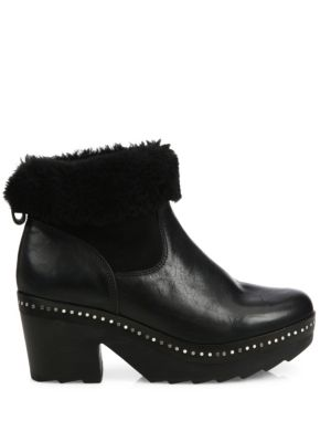 RAG & BONE Leathers Nelson Leather & Shearling Clog Booties