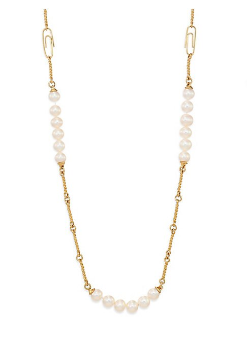 "Image of Long twisted chain strung with pearls and paperclips. White round freshwater pearls.18k yellow goldplated brass. Length, 37"".Paperclip clasp. Made in France."