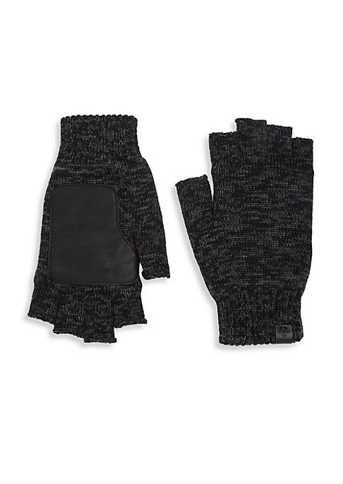"""Image of Cozy wool-blend fingerless gloves with leather palm and terry lining. Ribbed cuffs. Length, about 9"""".Wool/acrylic/leather. Hand wash. Imported."""