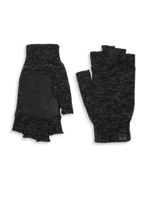 BICKLEY + MITCHELL Leather Patch Wool Fingerless Gloves in Black