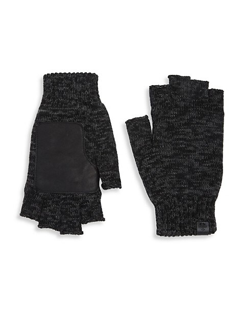 Leather Patch Wool Fingerless Gloves
