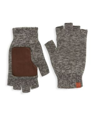 BICKLEY + MITCHELL Leather Patch Wool Fingerless Gloves in Grey