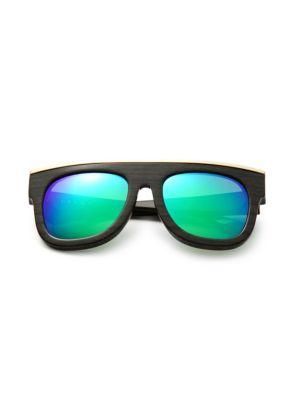 DAX GABLER Oversized Rectangular Sunglasses in Dark Wood