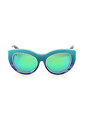 Image of Clean, crisp designed in a stunning mirrored finish 55mm lens width; 19mm bridge width; 140mm temple length 100% UV protection Cleaning cloth included Acetate/brass Made in Italy. Soft Accessorie - Sunglasses. Dax Gabler. Color: Turquoise.