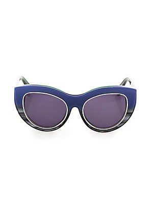 Image of From the Signature Collection Get the trend-right cat eye look with this design 55mm lens width; 19mm bridge width; 140mm temple length UV protection Cleaning cloth included Acetate/brass Made in Italy. Soft Accessorie - Sunglasses. Dax Gabler. Color: Blu