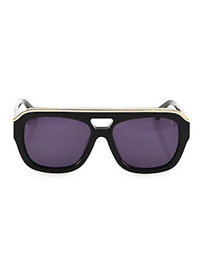 Image of Classic square frame notched up with metallic top bar 57mm lens width; 17mm bridge width; 135mm temple length 100% UV protection Cleaning cloth included Acetate/brass Made in Italy. Soft Accessorie - Sunglasses. Dax Gabler. Color: Black.