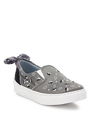 Image of Bananda-print sneaker with embroidered eyes and bow Satin upper Round toe Slip-on style Leather lining Rubber sole Made in Italy. Women's Shoes - Contemporary Womens Shoe > Saks Fifth Avenue. Chiara Ferragni. Color: Grey. Size: 35 (5).