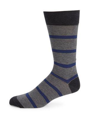 MARCOLIANI Pima Cotton-Blend Striped Crew Socks in Blue