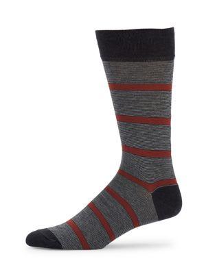 MARCOLIANI Pima Cotton-Blend Striped Crew Socks in Brown