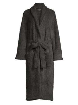 Image of Cozy, ultra-plush robe with patch pockets. Shawl collar. Long sleeves. Wrap front with tie waist. Waist patch pockets. Polyester microfiber. Machine wash. Imported.